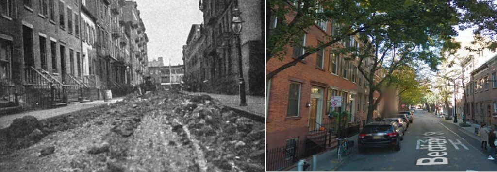 Cruce de Morton St. con Bedford en el Village de NY. A la izquierda en el año 1893 y actualmente.